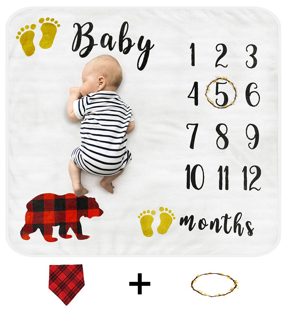 Baby Monthly Milestone Blanket, Organic Thick Fleece Backdrop Memory Blankets, Bonus Floral Wreath + Bib, Best Newborn Boys and Girls Photography Background Prop, Large for Baby Shower Gifts 47x43in by Cimkiz