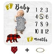 Cimkiz Baby Monthly Milestone Blanket for Boys and Girls, Organic Premium Fleece Photography Background Blankets, Bonus Floral Wreath + Bib, Best Newborn Photo Prop, Large (47x43in)
