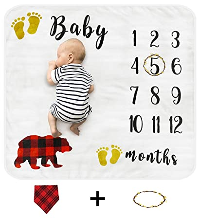 Baby Milestone Blanket Photography Background Prop Thick Fleece Backdrop for Infants /& Toddlers