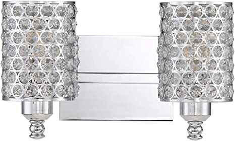 Sconce Wall Lamp for Living Room Bedroom Amabao Hallway 2-Light Chrome Finish Crystal LED Wall Light 3 LED Bulbs Included