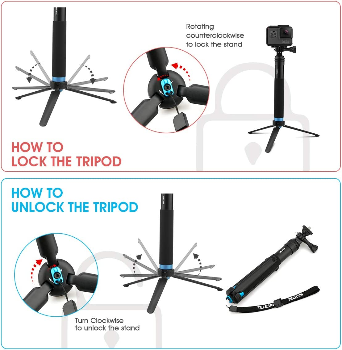AFAITH Upgraded Pole for GoPro, Aluminum Alloy GoPro Selfie Stick with Stable Tripod Waterproof Handheld Monopod for GoPro Hero 8 Black/Hero 9 Black/7/6/5/4/ Osmo Action Camera/Xiao Yi Action Camera : Camera & Photo