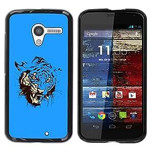 Be Good Phone Accessory // Dura Cáscara cubierta Protectora Caso Carcasa Funda de Protección para Motorola Moto X 1 1st GEN I XT1058 XT1053 XT1052 XT1056 XT1060 XT1055 // Blue Fierc