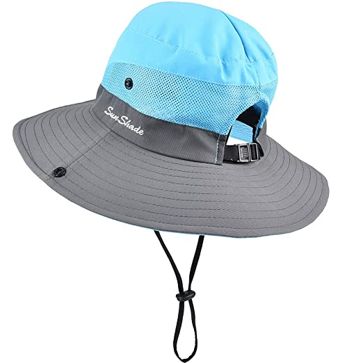 b317e8d824d Sun Hats for Women - Women s Safari Sun Hat Wide Brim UPF 50+ Fishing  Ponytail