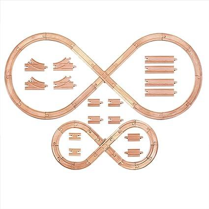 Amazon.com: Tiny Conductors Juego de 52 pistas de madera ...