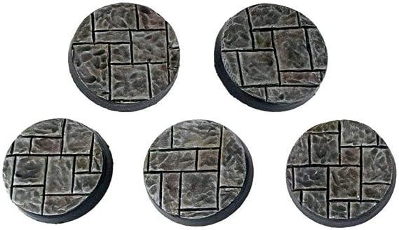 War World Gaming Fantasy Village - Peanas Redondas de Adoquines x 5 (25mm) - 28mm Wargaming Diorama Miniaturas Batalla Medieval Edad Media Maqueta Wargame: Amazon.es: Juguetes y juegos