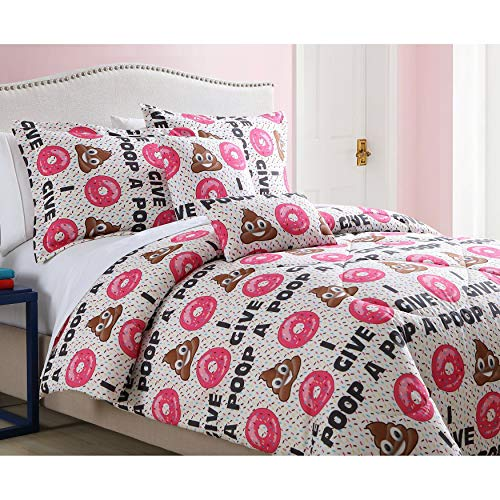 (MISC 5 Piece Poop Emoji Comforter Full/Queen Set Donut Bedding Set Give Pooh Saying Quote Dots Confetti Sprinkle Themed Pattern Pink Brown White, Microfiber )