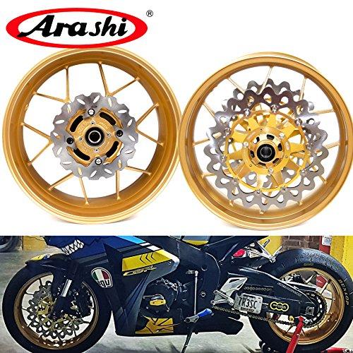 2014 Honda Cbr 1000 - Arashi Front Rear Wheel Rims and Brake Disc Rotors for HONDA CBR1000RR 2006-2016 Motorcycle Replacement Accessories CBR 1000 RR CBR1000 1000RR Gold 2007 2008 2009 2010 2011 2012 2013 2014 2015