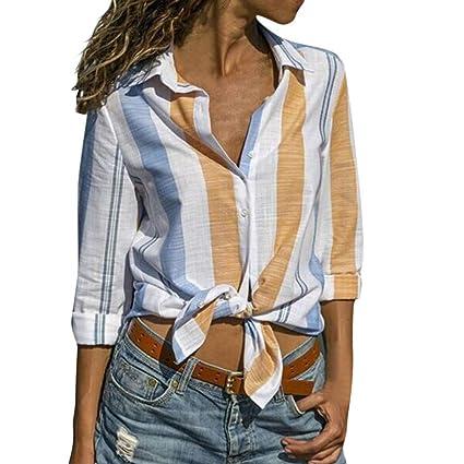 Luckycat Blusa Mujer Chiffon Camisa De Manga Larga Elegante Colorido a Rayas Cuello V Camisas: Amazon.es: Ropa y accesorios