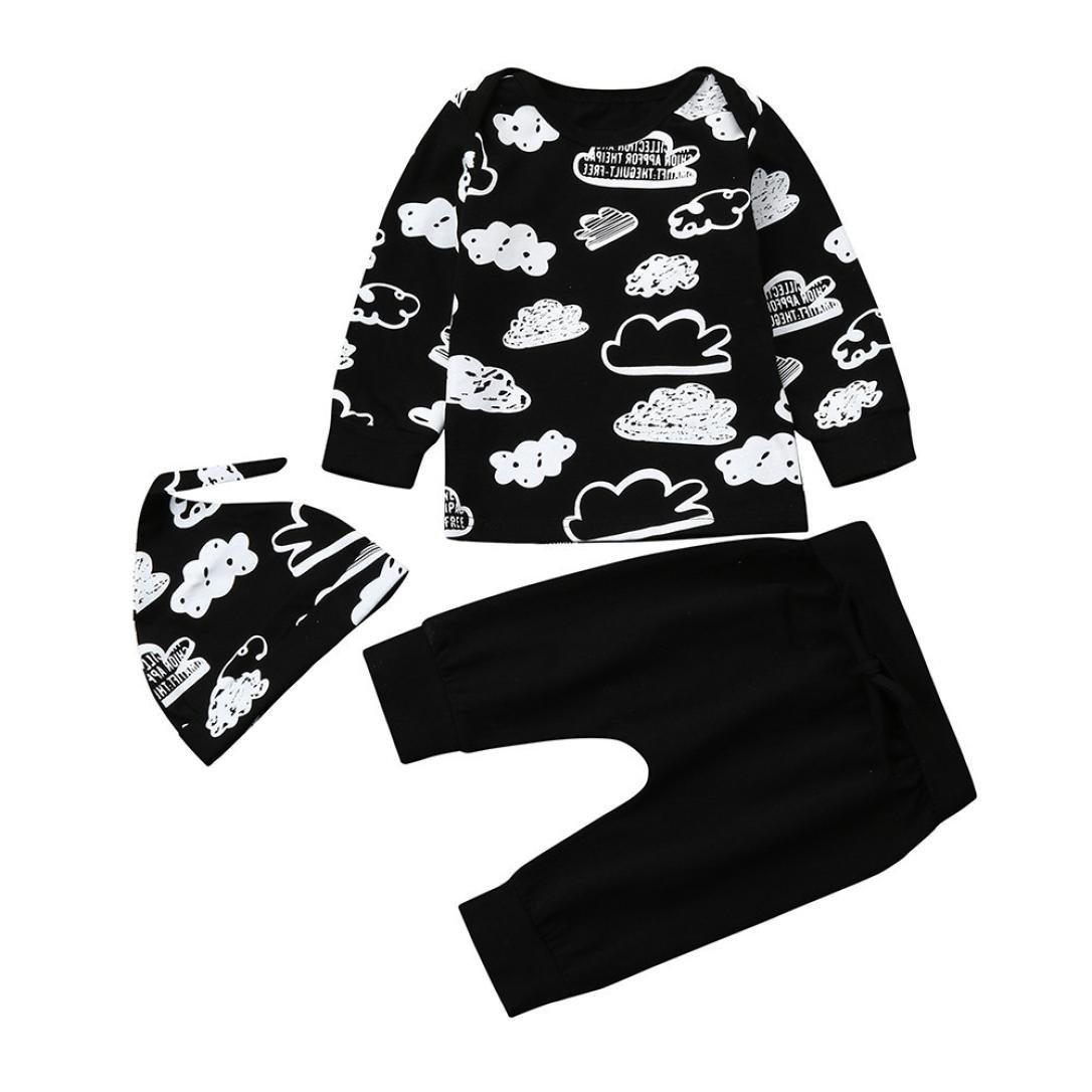 Baby Winter Clothes Outfits for 3-18 Months Mingfa Unisex Newborn Infant Cloud Print Long Sleeve T Shirt Tops+Pants+ Hat Set (Black, 3M) Mingfa.y_Baby clothes