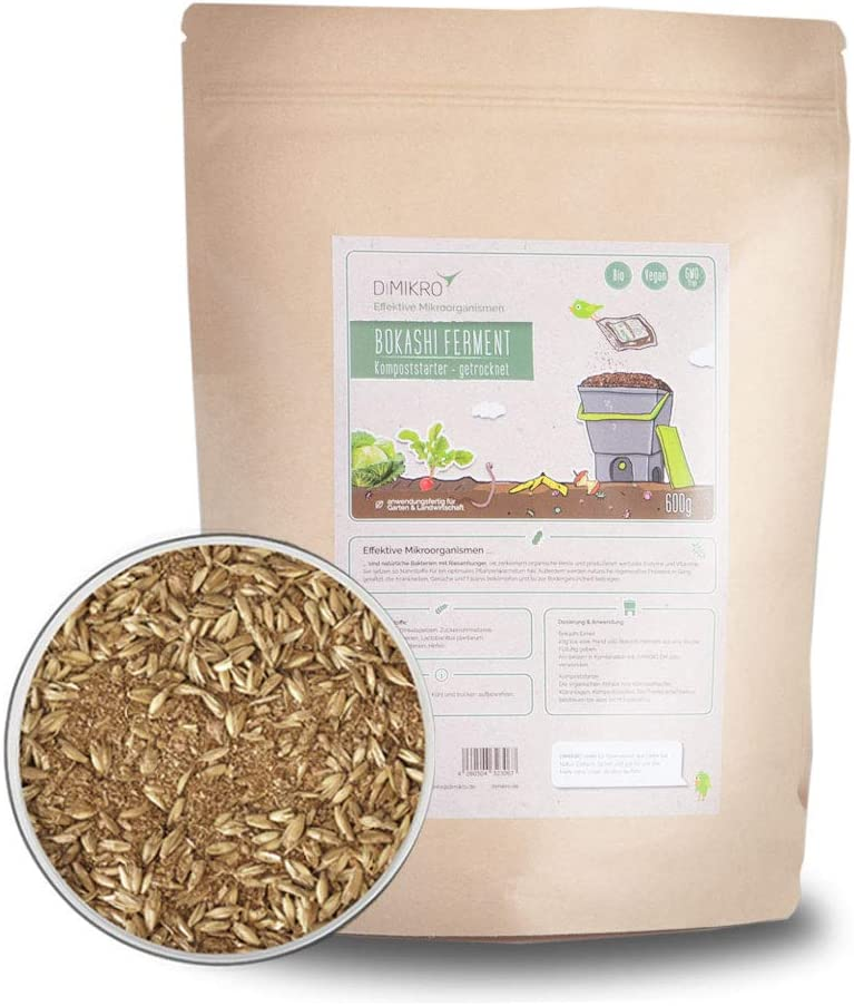 DIMIKRO Bokashi Ferment Dried With Effective Micro-Organisms Compost Starter and Fermentation Aid for Bokashi Buckets 6-Side Info Booklet for Bokashi Application