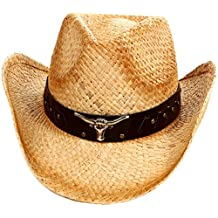 AshopZ 2-Tone Cattleman Straw Western Cowboy Cowgirl Hat w/ Beaded or Bull Band