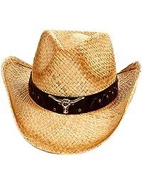 AshopZ 2-Tone Cattleman Straw Western Cowboy Cowgirl Hat w/ Beaded or Bull Band