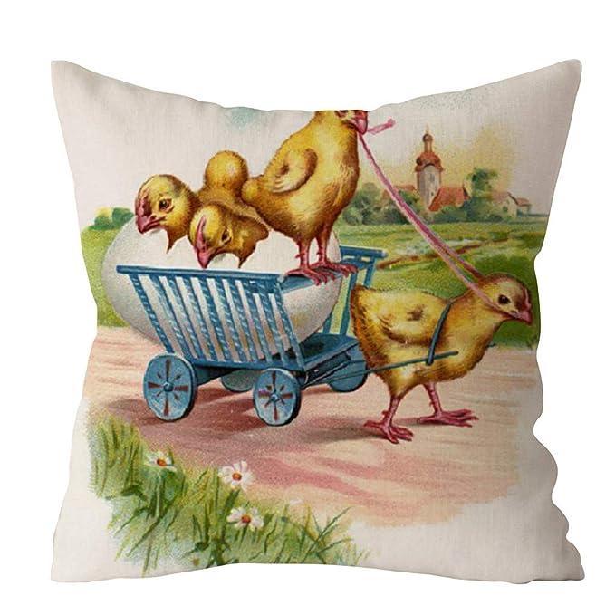 zarupeng✦‿✦ Easter Rabbit Print Funda de Almohada Sofá Funda de Cojín para Coche Decoración para el hogar Regalo: Amazon.es: Juguetes y juegos