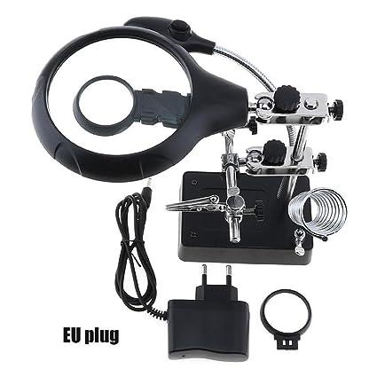 Leo565Tom 5X / 10X lupa de soldadura con 5 LED Lupa de escritorio multifuncional lupa de cocodrilo Clip 2 Lente reemplazable: Amazon.es: Bricolaje y ...