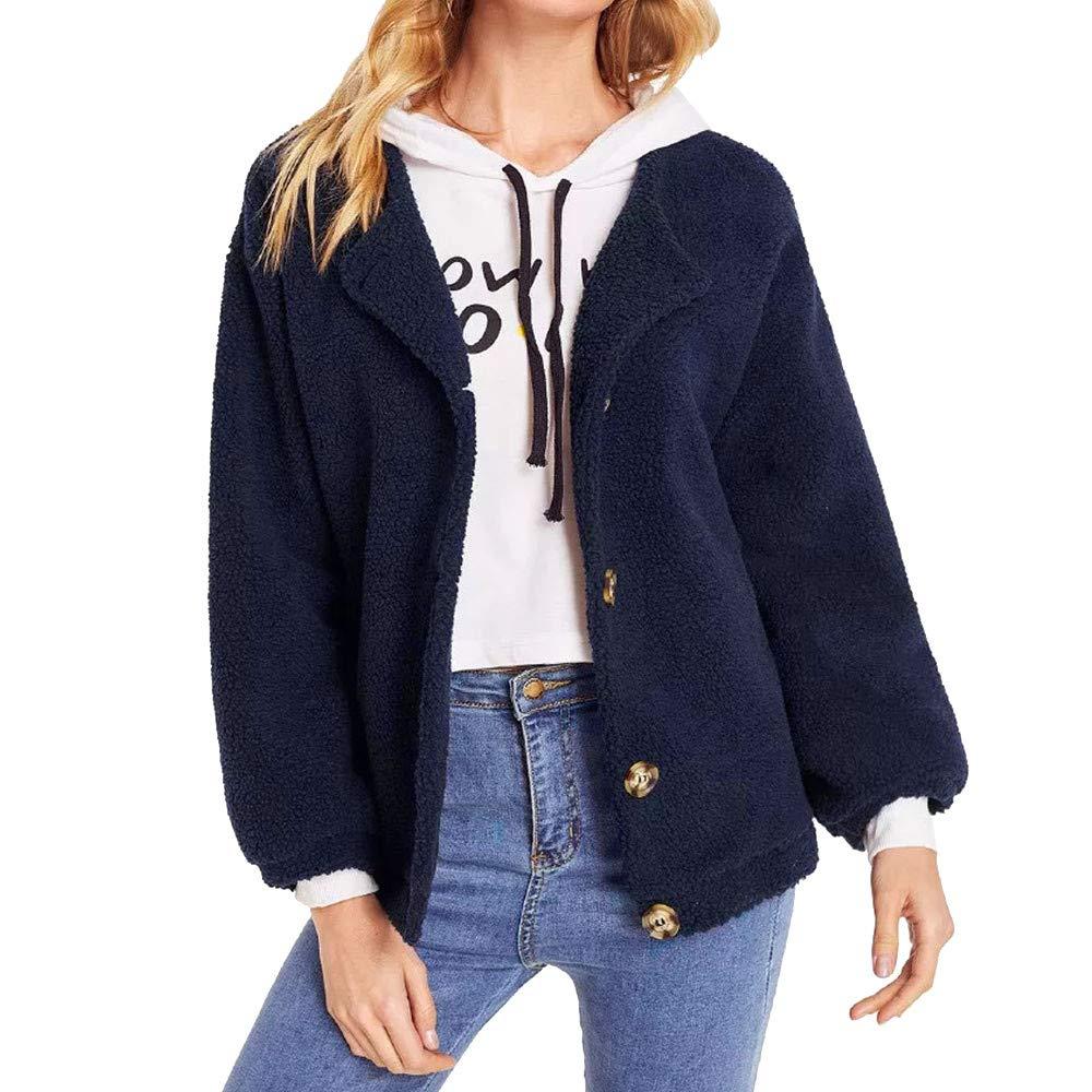 Dragon868 Damen Shaggy Faux Pelzmantel Winter Warm Fleece Wolle Single Breasted Jacke Cardigan