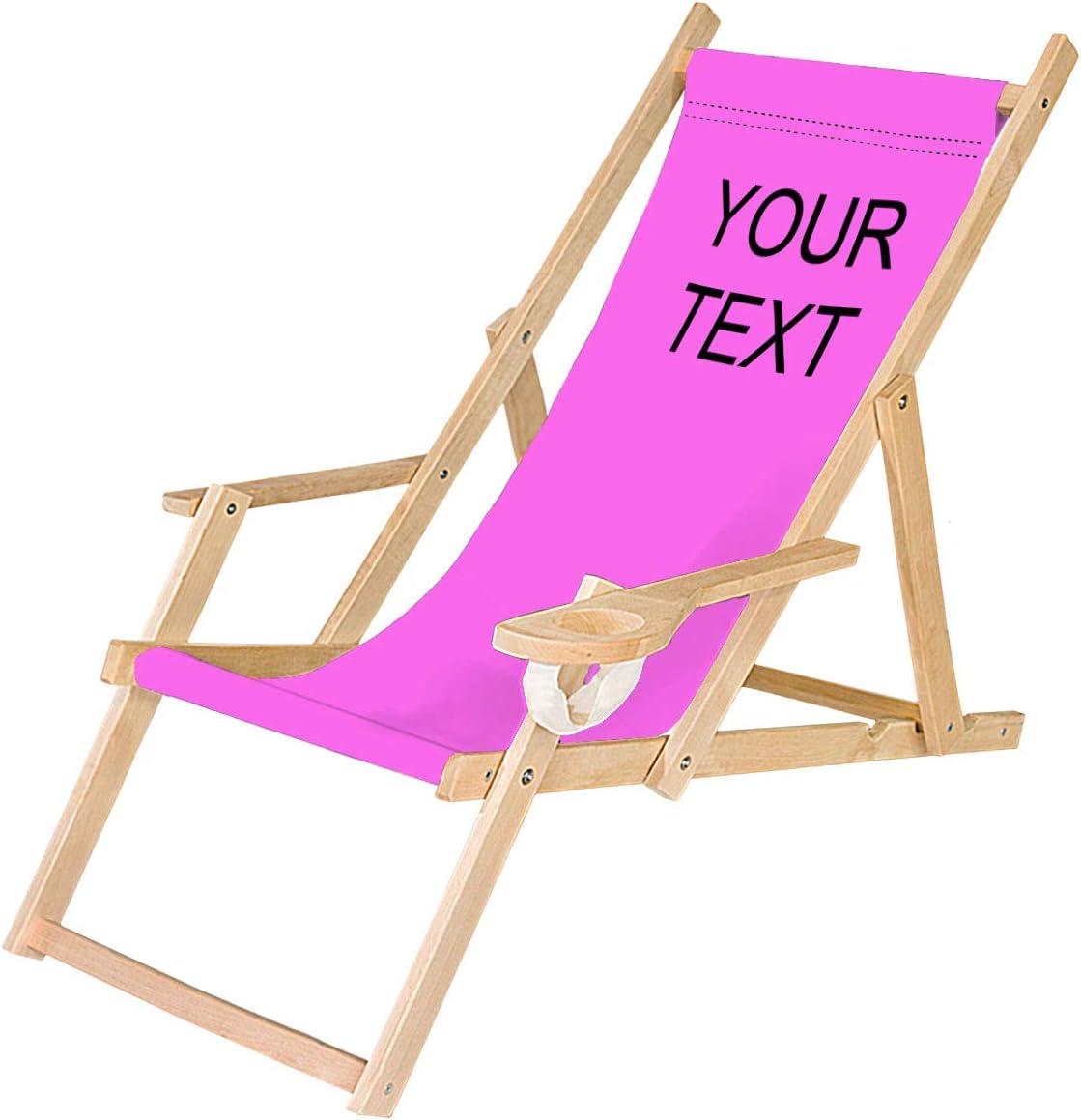 Ferocity Tumbona Plegable de Madera con Reposabrazos y Soporte para Bebidas Silla de Playa Personalizable Diseño Rosa, tu Texto [119]