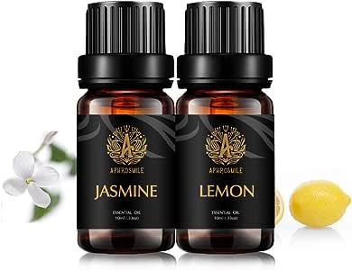 Aromatherapy Jasmine Essential Oils Lemon Set,100% Pure Jasmine Lemon Essential Oils Scent Set,2x10ml Therapeutic Grade Lemon Aromatherapy Essential Oils Jasmine Fragrance Kit for Diffuser,Humidifier