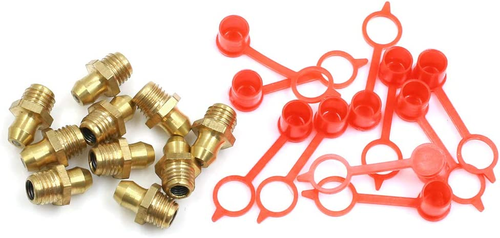 10 Set X AUTOHAUX M6 Straight Brass Hydraulic Grease Nipple Fittings with Dust Cap