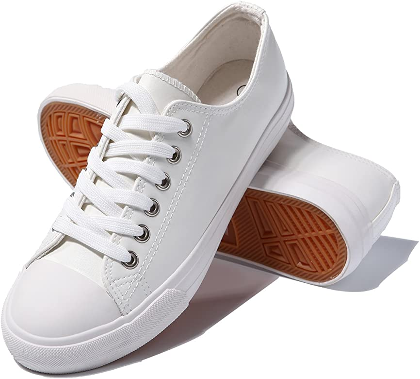 Womens Fashion PU Leather Sneakers Low Top Lace up Canvas Shoes