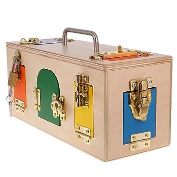 Lovoski キッズ 教育玩具 知育 木製 モンテッソーリ ロックボックス 視覚 感覚 おもちゃ