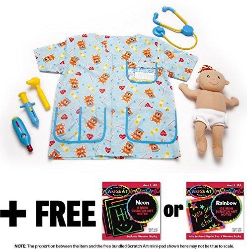 (Melissa & Doug Pediatric Nurse Costume & 1 Scratch Art Mini-Pad Bundle (08519))