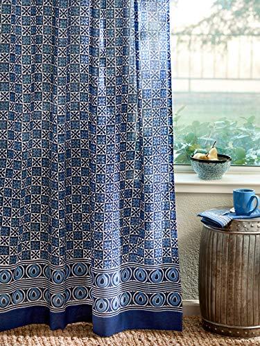 Batik Panel - Saffron Marigold - Starry Nights - Navy Blue and White Batik Print Hand Printed - Sheer Cotton Voile Curtain Panel - Tab Top or Rod Pocket - (46