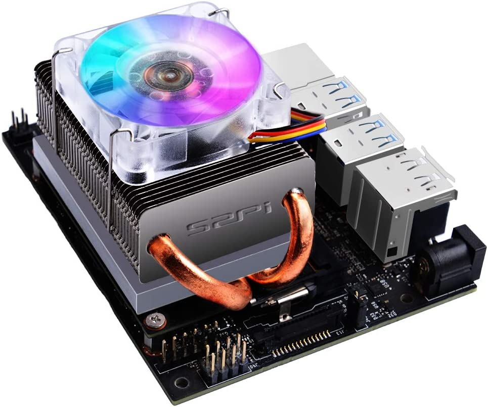 GeeekPi 5V PWM Low-Profile CPU Cooler for Jetson Nano,Horizontal Radiator with Colorful LED Fan Ice Tower Cooling Fan Quiet Fan for Jetson Nano