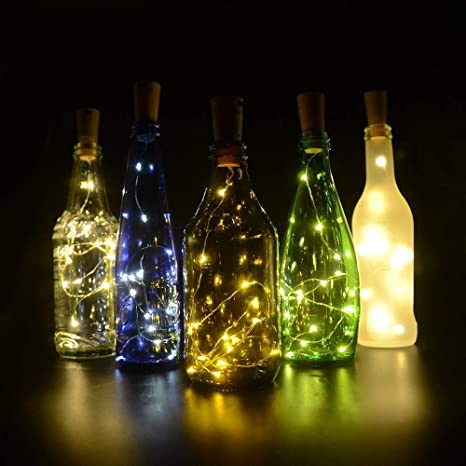 6 PCS Luz de Botella,BizoeRade Juego de botellas de vino blanco cálido Cork Lights 15 LED de cobre Wire Lights de cadena para la botella DIY, fiesta, ...