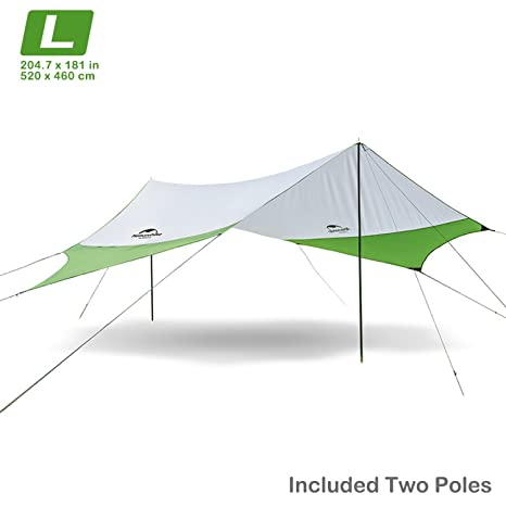 superior quality a6928 22dd5 Topnaca Lightweight Camping Tarp Shelter Beach Tent Sun Shade Awning Canopy  with Tarp Poles, Portable Waterproof Sun-Proof 157.5 x 137.8 in/ 204.7 x ...