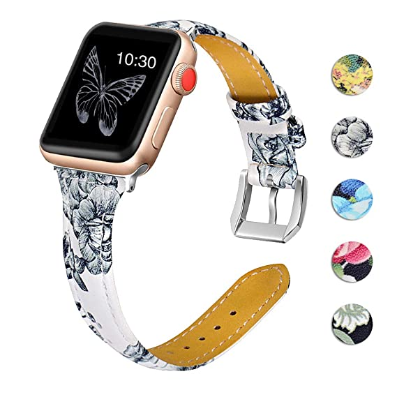 cd0f5c7fc7c OULUCCI Leather Bands Compatible Apple Watch 38mm 40mm Slim Replacement  Wristband Sport Strap for Iwatch Nike+