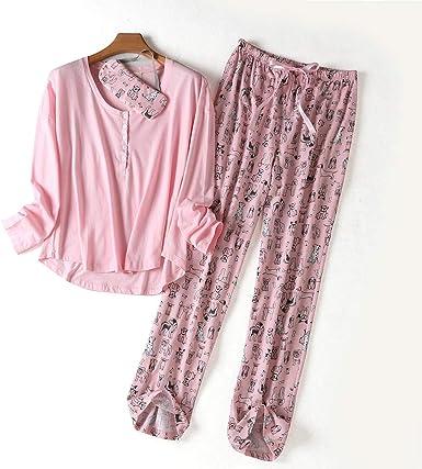 Nuevo100% Algodón Ropa de Dormir Manga Larga Pijama Mujer Cuello Redondo Tallas Grandes Pijamas Traje de Tres Piezas de Dibujos Animados para Mujer: Amazon.es: Ropa y accesorios