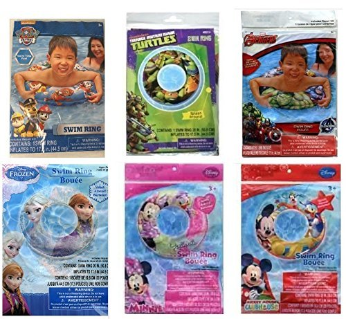 Pack of 6 Swimming Rings - Avengers - Mickey Mouse - Paw Patrol - Ninja Turtles - Minnie Mouse and Frozen (Minnie Mouse Motorcycle)