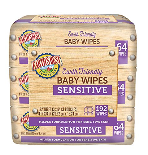 Earth's Best Baby Chlorine-Free Wipes, Sensitive, 192 Count (Pack of 4) by Earth's Best