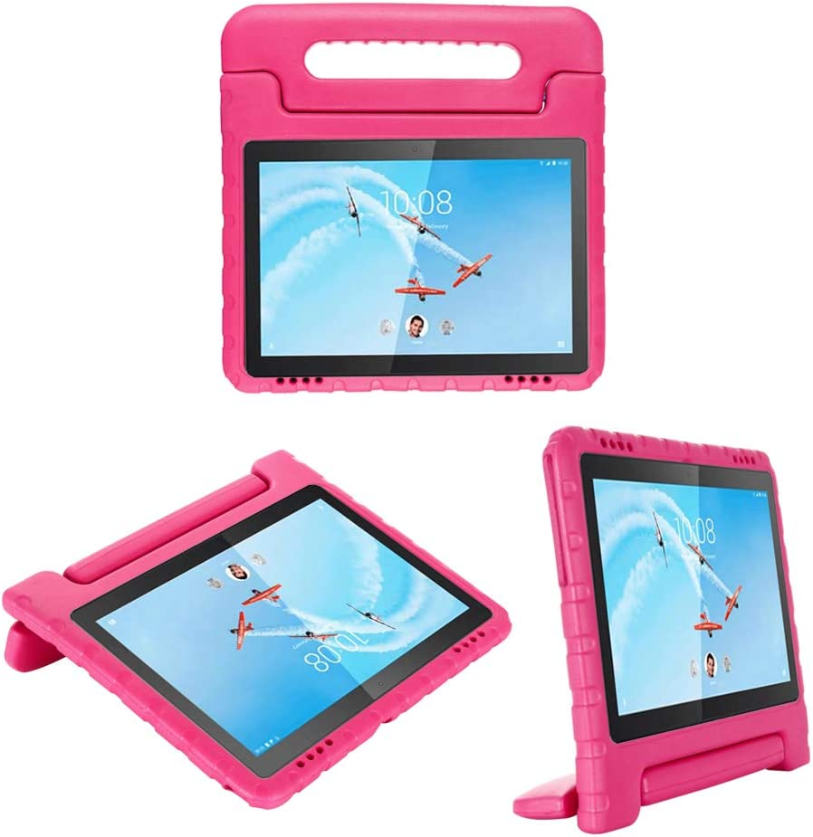 i-original Compatible with Lenovo Tab E10(TB-X104F) 10.1 Inch 2019 Case,Shockproof EVA Case for Kids Bumper Cover Handle Stand,Convertible Handle Lightweight Protective Cover (Magenta)