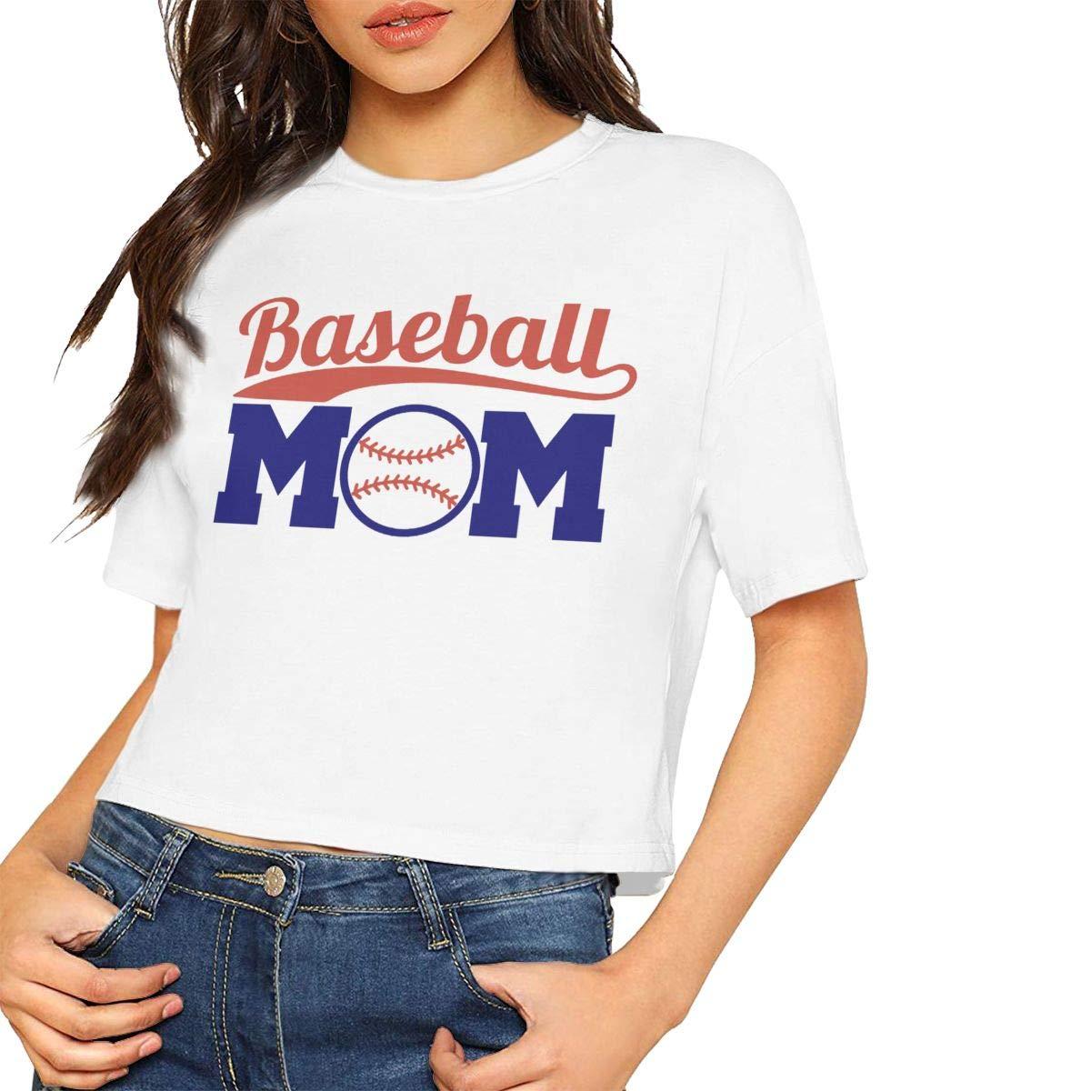 VANMASS Baseball Mom Womens Short Sleeves Crop Tops T Shirts