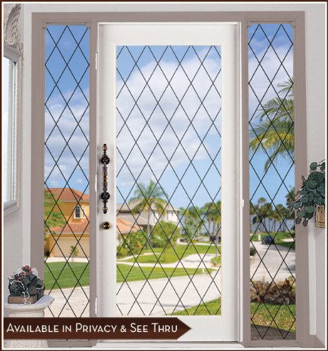 Orleans Black Leaded Glass See-Through Static Cling Window Film - 48 in x 78 in