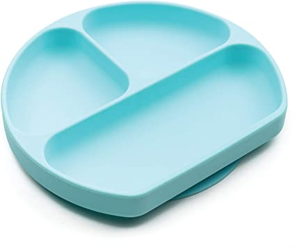 Microwave Dishwasher Safe Baby Toddler Plate BPA Free Suction Plate Divided Plate 2pk Gray//Blue Bumkins Silicone Grip Dish