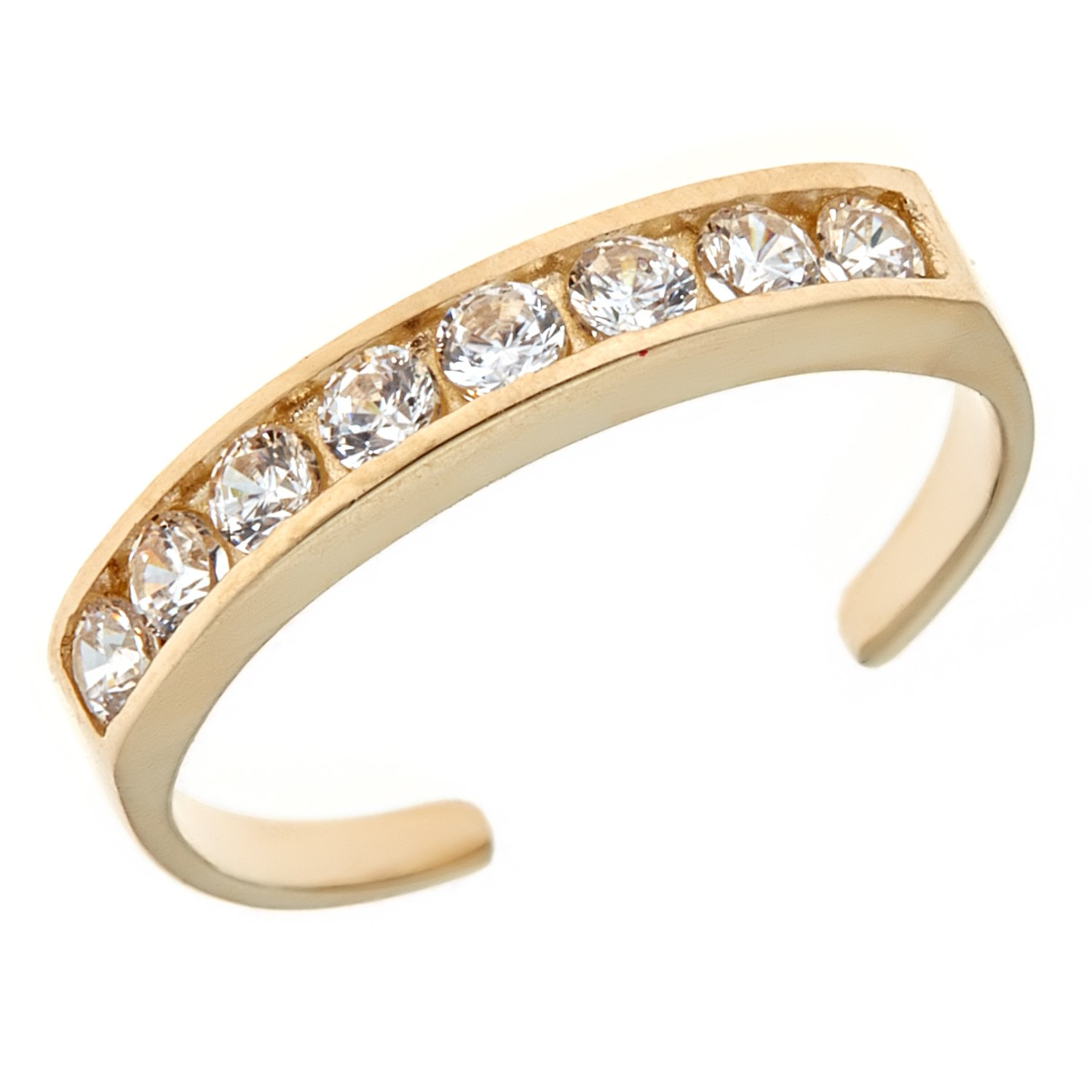 10k Solid Gold Eternity Band Cubic Zirconia Toe Ring Channel Set Adjustable Body Jewelry