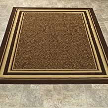 "Ottomanson Ottohome Collection Color Contemporary Bordered Design Area Rug with Non-Skid (Non-Slip) Rubber Backing, Brown, 3'3"" x 5'0"""