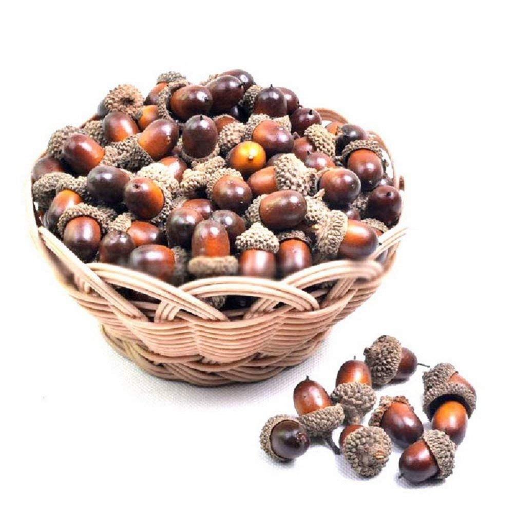 FUNSECO 50 PCS Fall Decor Nutty, Artificial Acorn Craft Material for Autumn Fall Decoration Home House Kitchen Party Decor