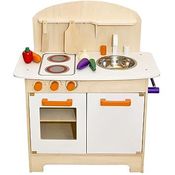 Merveilleux Spielküche Aus Holz Mit Höhenverstellbarer Rückwand, Arbeitshöhe 58 Cm ||  Kinder Spiel Holzküche Kinderküche