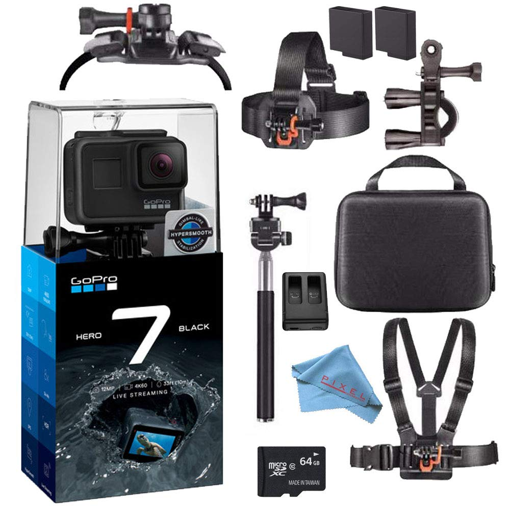 GoPro Hero7 Hero 7 Waterproof Digital Action Camera Advanced Bundle (Black)