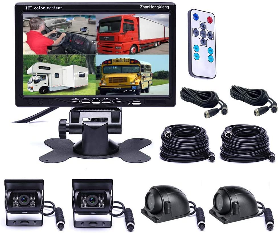 Vehicle Backup Cameras Monitor System 12V/24V,4 x HD 1080P Front Side Rear View Camera + 7
