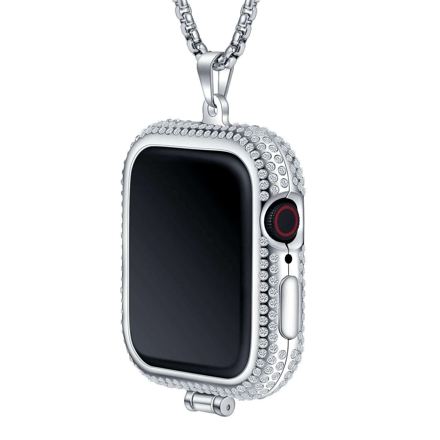 Callancity Metal Rhinestone Face Cover Plated Luxury Color Compatible for Apple Watch Pocket Watch Series 4 (Platinum, 44mm) by Callancity