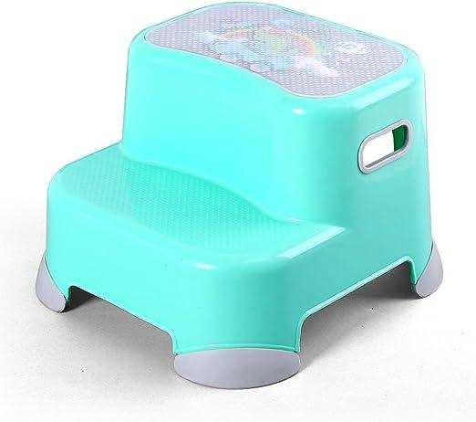 CJH Espesar el Taburete de plástico para niños Lave el Taburete El Taburete El baño del bebé Escalera Ascendente Antideslizante Escalera de Escalera Taburete de pie Azul: Amazon.es: Hogar