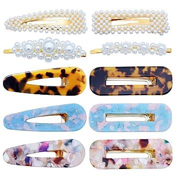 54ab1dc668081 Amazon.com : 10 Pcs Hair Clips Pearl Hair Barrettes Fashion Geometric  Acrylic Resin Alligator Hair Clips Hair Pins for Women Ladies Hair  Accessories : ...
