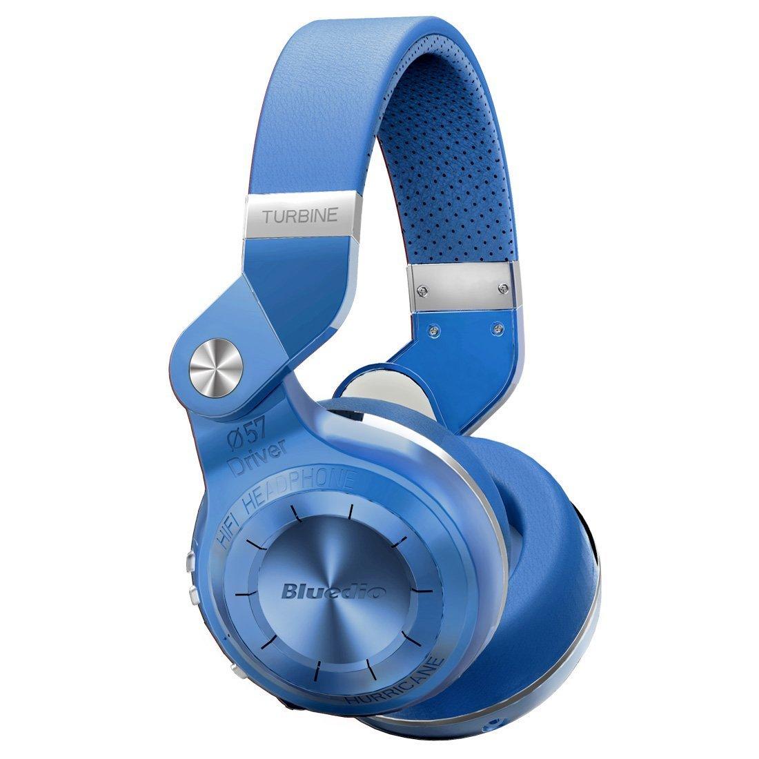 Bluedio T2S Turbine 2 Shooting Brake Bluetooth Stereo Headphones Wireless Headphones Bluetooth 4.1 Headset Hurrican Series Over The Ear Headphones Blue