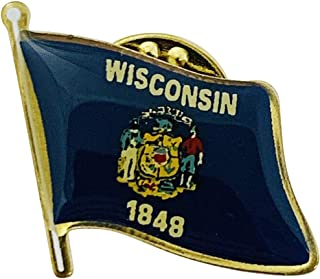 product image for Wisconsin Single Waving State Flag Lapel Pin - Made in The USA