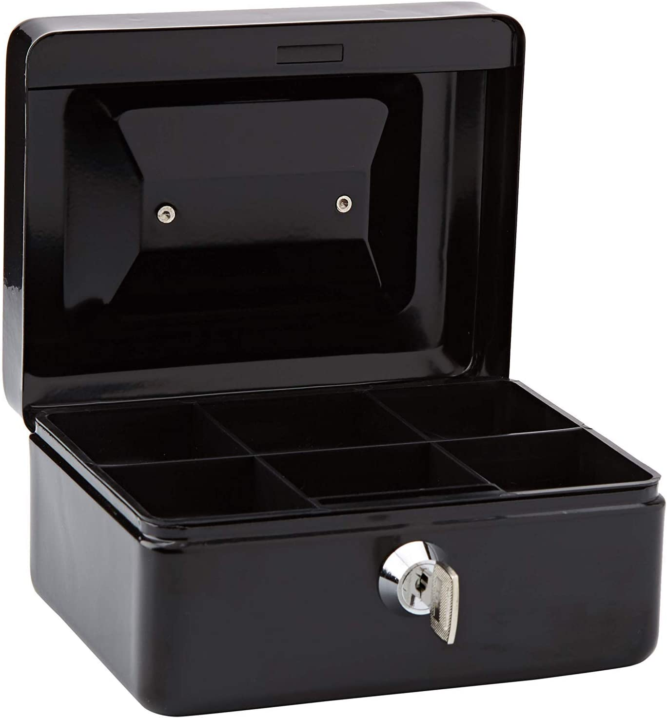 Lockable Coin And Note Security Box With 2 Keys Black, 4 Perfect For Carrying And Storing Money Easy To Use T/&B Heavy Duty Metal Cash Tin