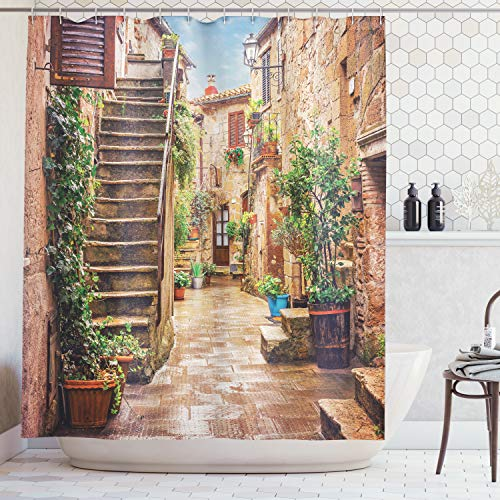 Ambesonne Tuscan Decor Shower Curtain Set, View of an Old Mediterranean Street with Stone Rock Houses in Italian City Rural Culture Print, Bathroom Accessories, 75 Inches Long, Stone Green ()